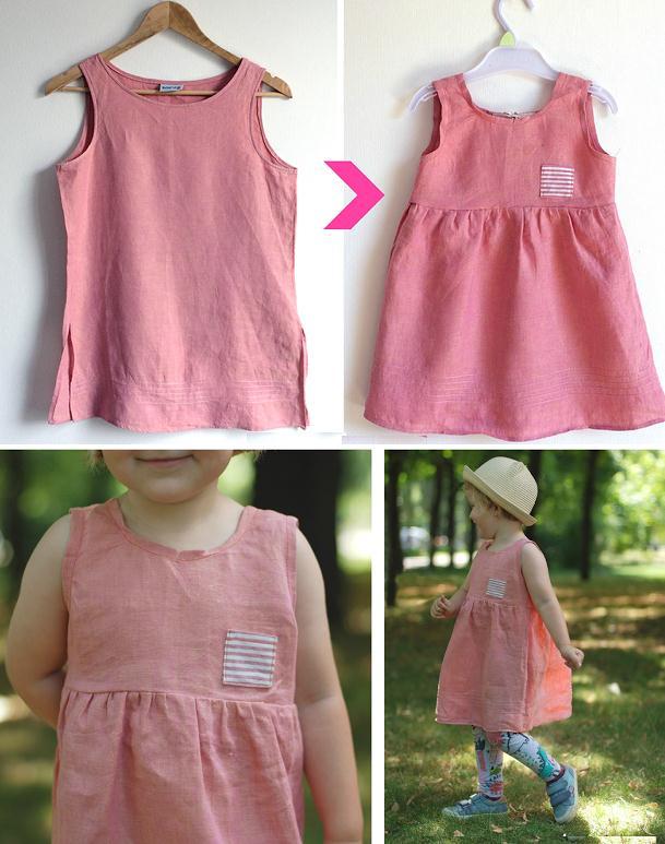 Como transformar franelillas en vestidos para niña