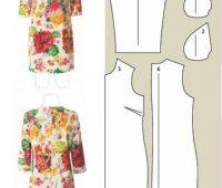 Vestido mangas tres cuartos floreado con patrón
