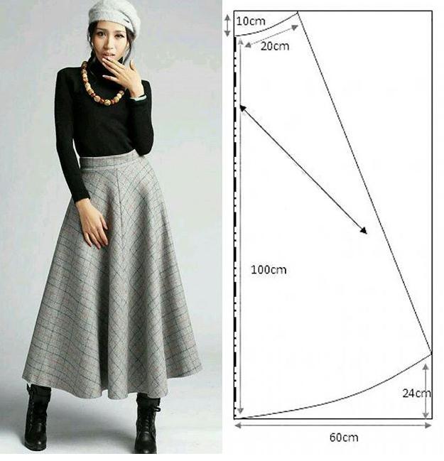 c6e5ea833 Falda larga clásica con patrónes - Moda   Manualidades y Cursos