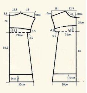 patrones de blusón manga recta