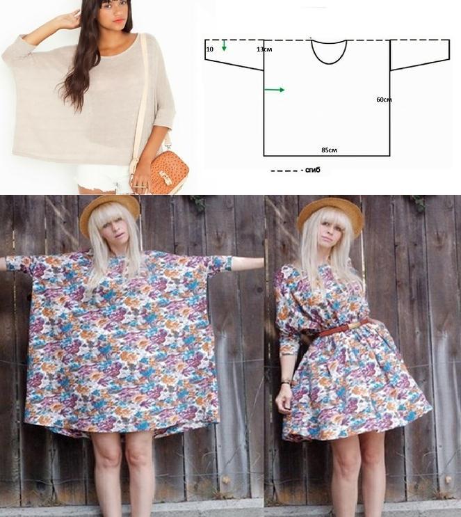 Blusa modelo túnica con molde