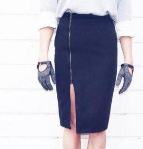 Falda con cremallera a un costado con moldes