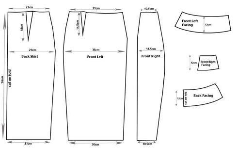 moldes de falda con cremallera a un costado