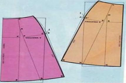 moldes de maxi falda