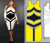 Vestido dos tonos modelo ajustado con moldes ¡ideal para chicas talla grande!