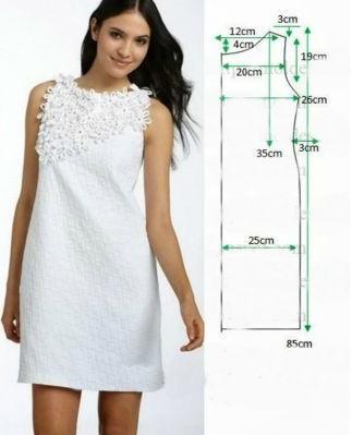 Vestido modelo sencillo con patrones