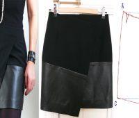 Mini falda asimétrica dos texturas con patrones
