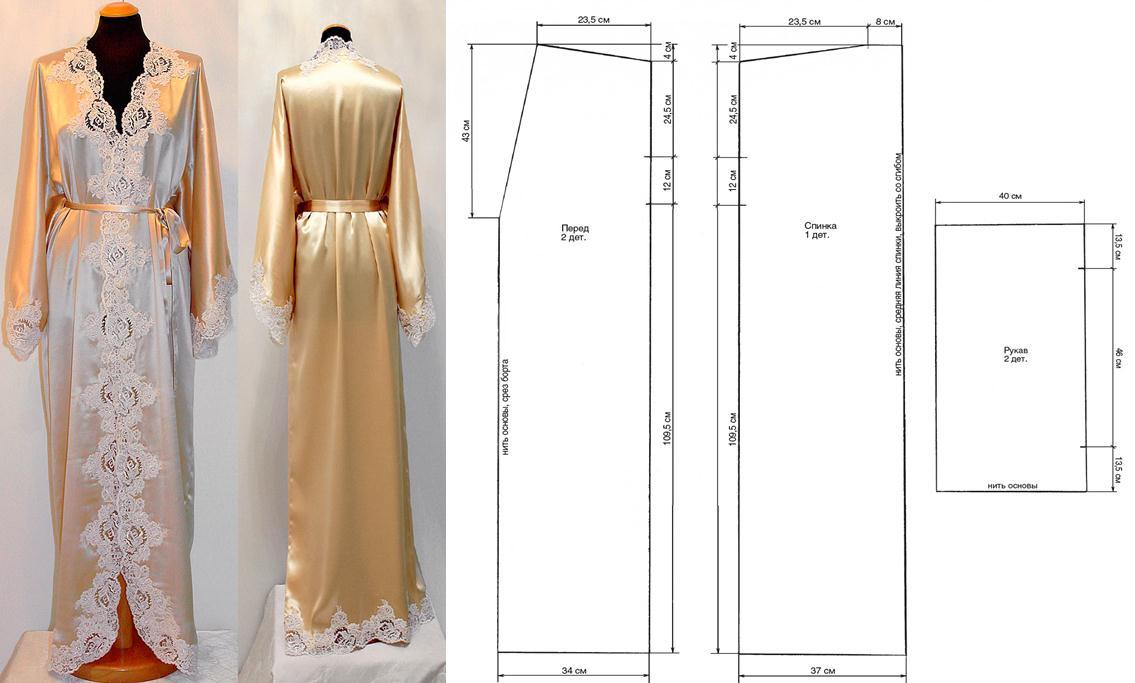 Bata de seda y encaje con patrones sencillos - Moda & Manualidades