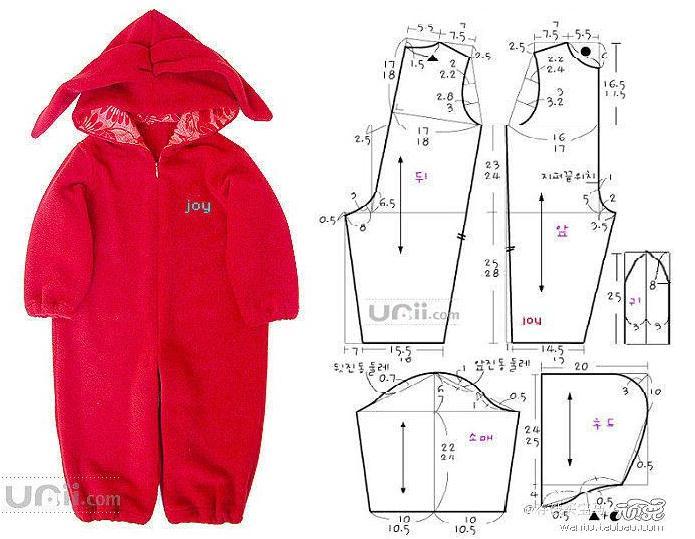 Enterizo con capucha para bebes con patrones - Moda & Manualidades ...
