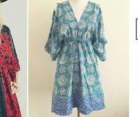 Vestido modelo kimono arruchado en la cintura con moldes
