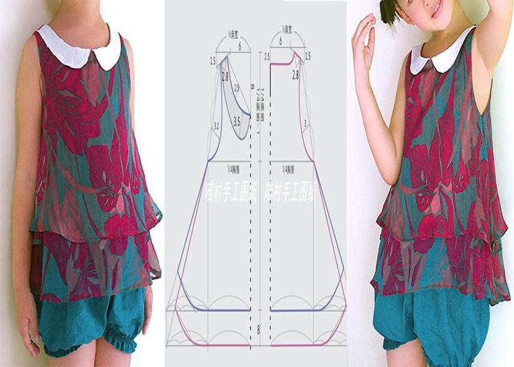 Blusa casual ligera para niñas con moldes - Moda & Manualidades