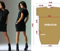 Vestido casual mangas enterizas con bolsillos ¡Patrones sencillos de fácil confección!