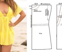 Vestido playero modelo túnica con patrones para todas las tallas estándar