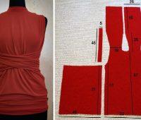 Blusa cruzada con moldes talla estándar de fácil confección