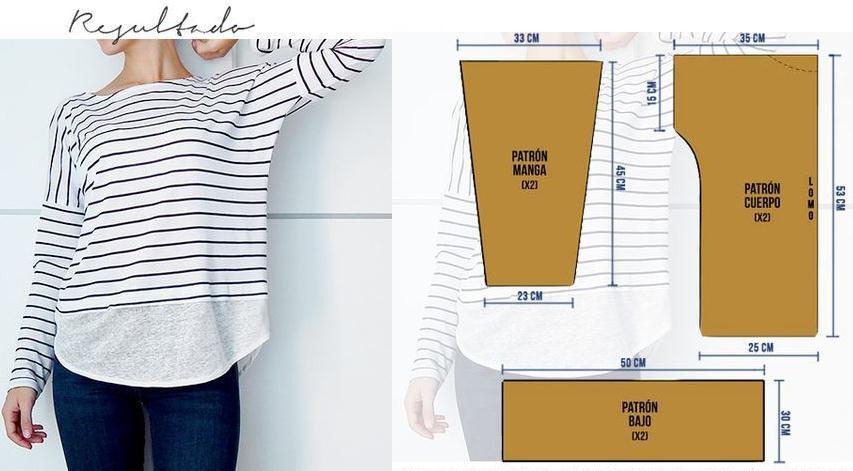 Camiseta doble manga con patrones talla estándar - Moda & Manualidades