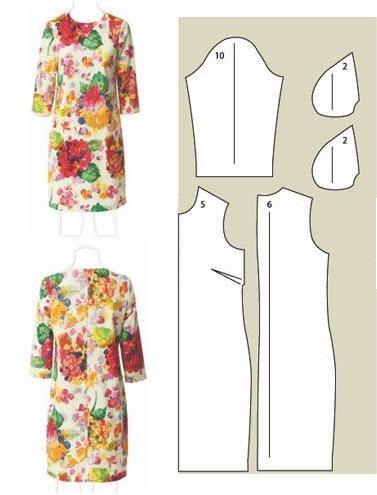 vestido-mangas-tres-cuartos-floreado-con-patron