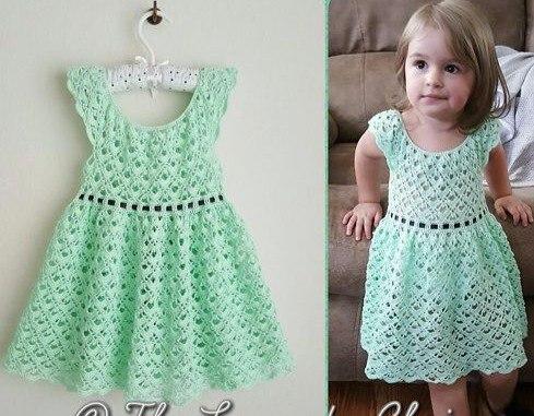 Image result for Vestido tejido a crochet para niñas de 6 años patrones