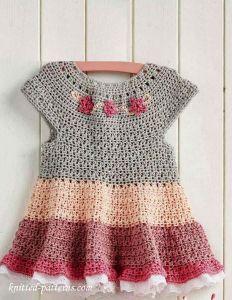 Vestido Tejido A Crochet Para Niña De 1 Año Moda