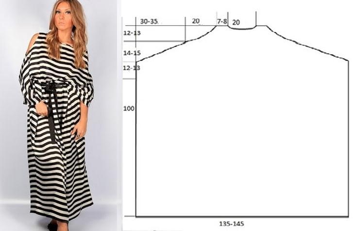 Maxi vestido sencillo con patrones