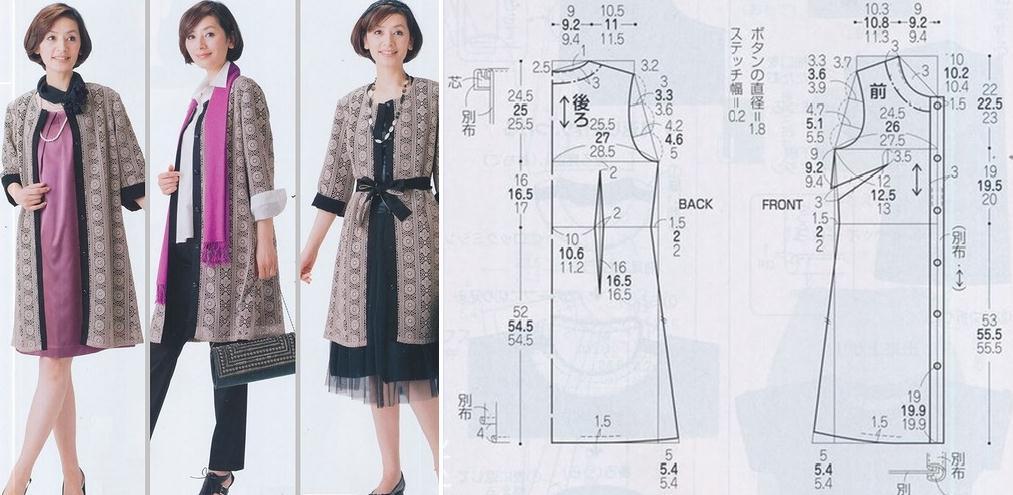 Vestido modelo sobretodo con patrones