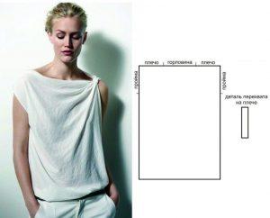Blusa sencilla asimetrica con moldes