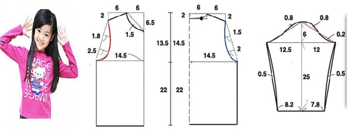 Camiseta mangas largas para niñas con patrones