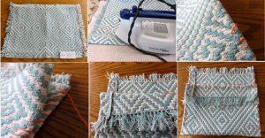 Bolso de mano hecho con un mantel individual paso a paso