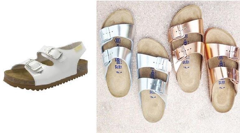 sandalias metalizadas en casa