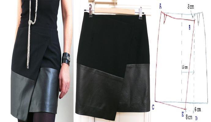 416c6c7d1 Mini falda asimétrica dos texturas con patrones - Moda ...