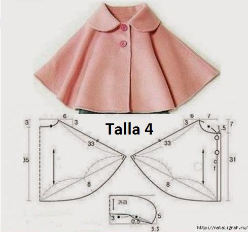 Chaqueta modelo capa para niñas con moldes
