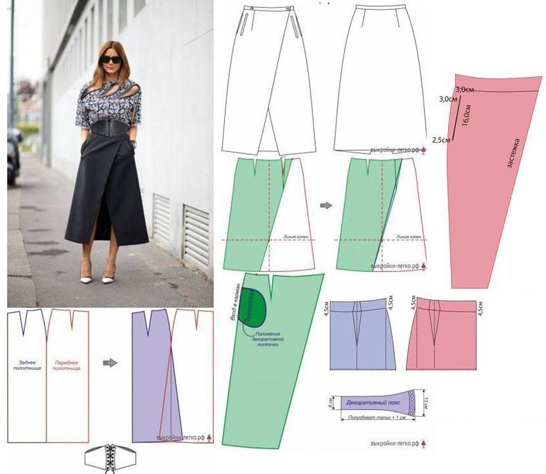 659dca83a Falda larga asimetrica con bolsillos - Moda & Manualidades y Cursos