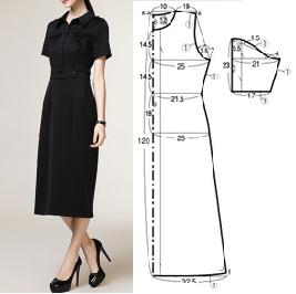 Vestido largo elegante con patrones