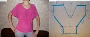 Blusa cuello V mangas rectas con moldes de trazado sencillo