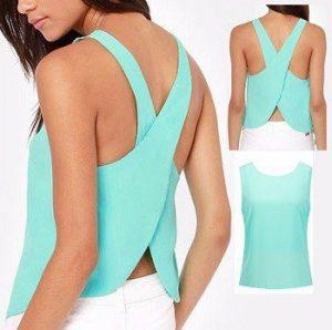Blusa cruzada en la espalda - Patrones gratis